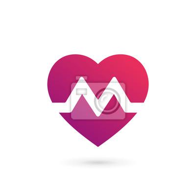 Image: Lettre m coeur logo icone conception éléments de modèle