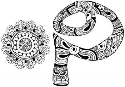 Image Lettre P décorée dans le style de mehndi