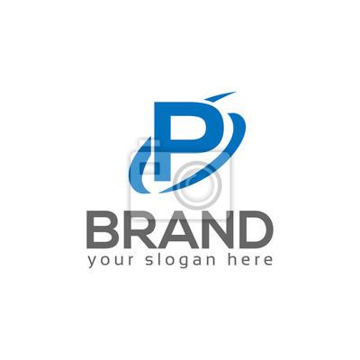 Lettre p swoosh logo peintures murales • tableaux logo, web, vecteur ...