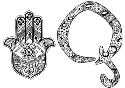 Image Lettre Q décorée dans le style de mehndi