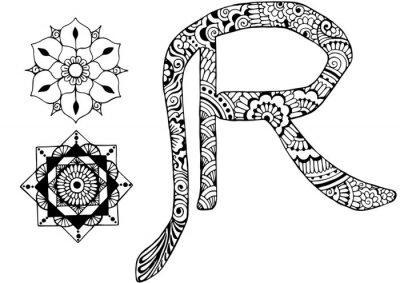 Image Lettre R décorée dans le style de mehndi