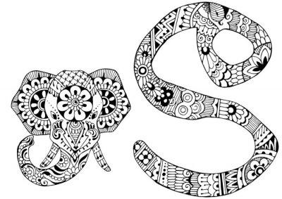 Image Lettre S décorée dans le style de mehndi