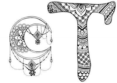 Image Lettre T décorée dans le style de mehndi