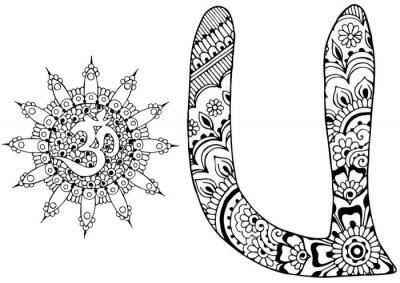 Image Lettre U décorée dans le style de mehndi
