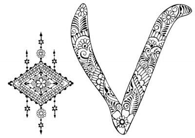 Image Lettre V décorée dans le style de mehndi