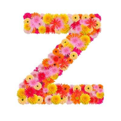 Image Lettre Z alphabet avec gerbera isolé sur fond blanc