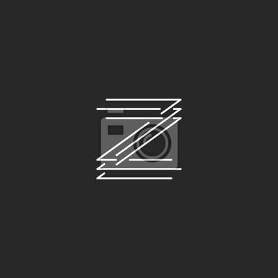 Image Lettre Z Logo Monogramme Moderne Carte De Visite Noir Et Blanc Thinline Maquette