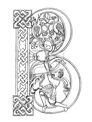 Image Lettrine B Ornement Page Médiévale Hunter