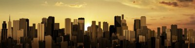 Image Lever de soleil-city panorama / rendu 3D de la ville moderne au soleil levant ou couchant