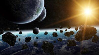 Image Lever de soleil sur le groupe de planètes dans l'espace