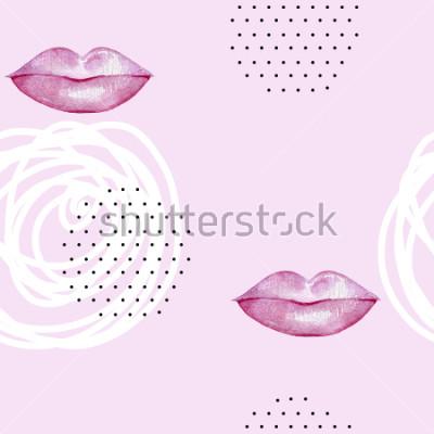 Image Lèvres rose aquarelle dessinée à la main. Modèle sans couture abstraite.