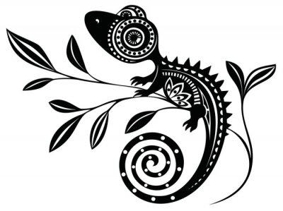 Image Lézard sur un branch.pattern. Chameleon.tattoo.