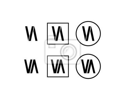 Image Ligne Art Initiale Lettre Va Symbole Logo Vector Set