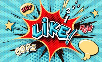 Image Like. Pop art cloud bubble. Funny speech bubble. Trendy Colorful retro vintage background in popart retro comic style. Illustration easy editable for Your design. Explosion comic cartoon effect.