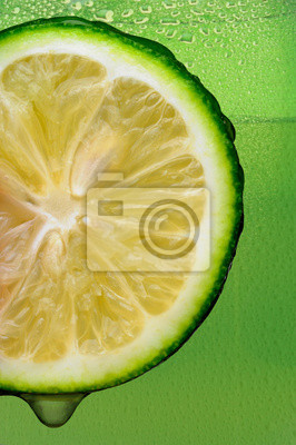 Lime with drip and Green Background