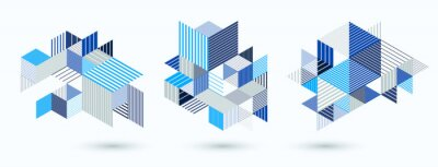 Image Line design 3D cubes and triangles abstract backgrounds set, polygonal low poly isometric retro style templates. Stripy graphic elements isolated. Templates for posters or banners, covers or ads.