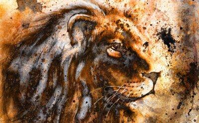Image lion collage sur la structure abstrait couleur de fond, la rouille,