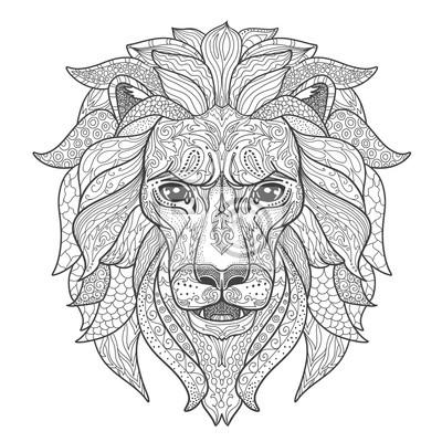 Image Lion Head Page Pour Un Livre De Coloriage Pour Adultes Silhouette