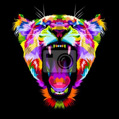 Image liones colorées en colère sur style pop art