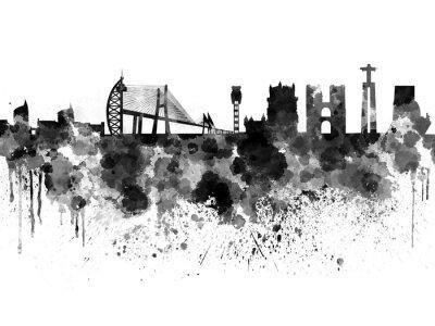 Image Lisbonne, Horizon, noir, aquarelle, fond