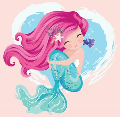 Image Little cute mermaid with fishes and seashells. Book illustration, fashion artworks, t shirt graphics.