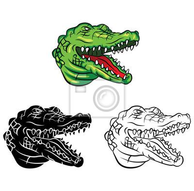 Coloriage Crocodile Mechant.Livre A Colorier Personnage De Dessin Anime Crocodile Head Peintures