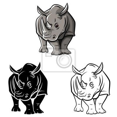 Coloriage En Ligne Rhinoceros.Image Livre A Colorier Personnage De Dessin Anime Rhinoceros Tattoo