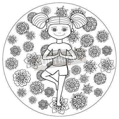 Coloriage Jardin Arbres.Livre Adulte Pour Colorier Page Fille Mignonne Dans Le Jardin