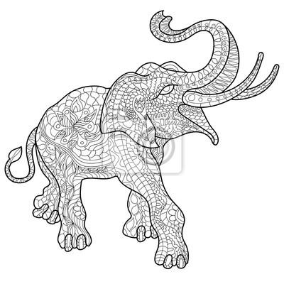 Coloriage Elephant Pour Adulte.Livre De Coloriage Anti Stress Elephant Pour Adultes Peintures