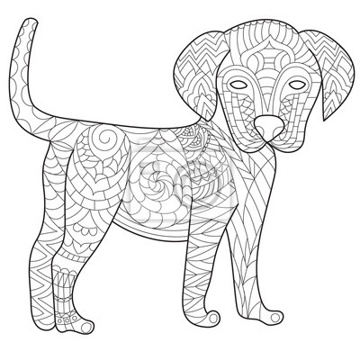 Livre de coloriage de chien anti stress vecteur pour adulte peintures murales tableaux - Dessin chien boxer ...