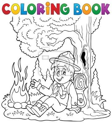 Livre De Coloriage Garcon Theme Scout 1 Peintures Murales Tableaux Camp Camping Feu De Camp Myloview Fr