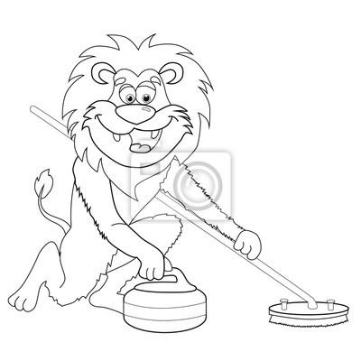 Image Livre De Coloriage Lion Curling Style De Dessin Animé Image