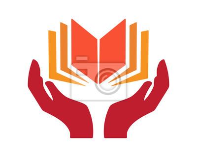 Image Livre Main Image Vecteur Icone Logo Symbole