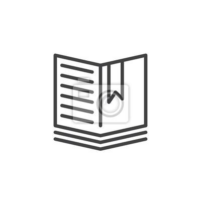 Image Livre Ouvert Avec Une Icone De Ligne De Signet Signe De Vecteur