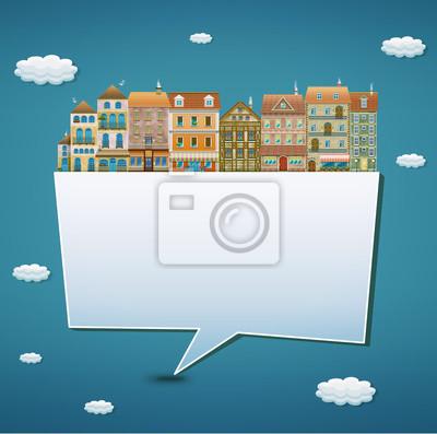Llustration d'une bannière avec des maisons