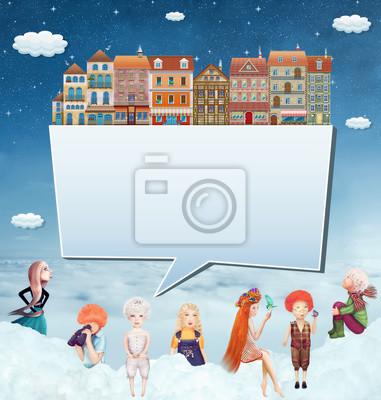 Llustration d'une bannière avec des maisons, des enfants et des nuages