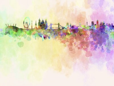 Image London skyline in watercolor background