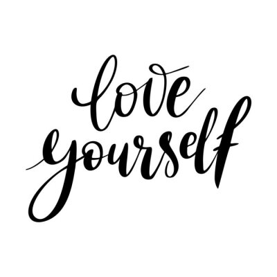 Image Love yourself - vector quote. Positive motivation quote for poster, card, t-shirt print. Love yourself calligraphy inscription. Vector illustration isolated on white background.