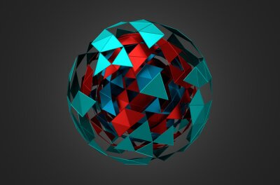Image Low Poly Metal Sphere with Chaotic Structure.