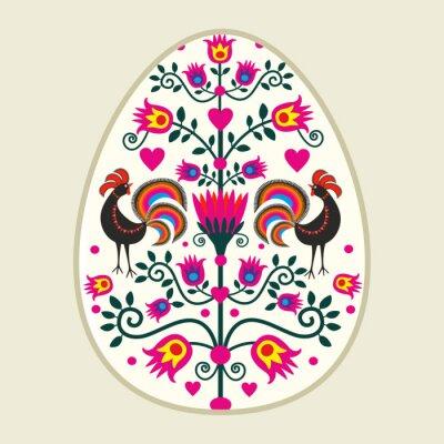 Image Ludowa kartka wielkanocna z pisanką