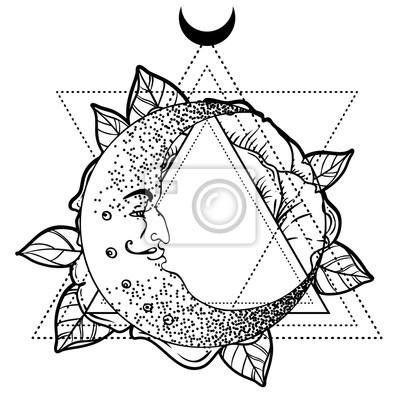 Lune En Croissant Fleur Rose Geometrie Sacree Flash De Tatouage