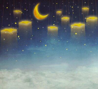 Image Lune, étoiles, corde, nuit, ciel