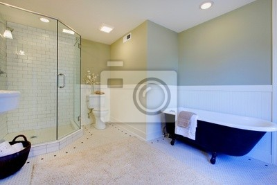 Luxe vert frais et salle de bains moderne blanc peintures murales ...