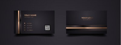 Image Luxurious business card with golden line template design. Modern inspiration from the abstract. Contact card for companies or startup company. Two sides dark black and gold color. Vector illustration.