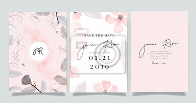 Image  Luxury marble Wedding logo and Invitation set,  invite thank you, rsvp modern card Design in pink and gray flower with leaf greenery branches  decorative Vector elegant rustic template