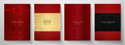 Image Luxury red curve pattern cover design set. Elegant floral ornament on maroon background. Premium vector collection for Christmas celebration, luxe invite, royal wedding template