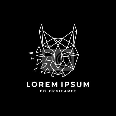 Lynx Géométrique Tête Logo Vector Icon Dessin Au Trait Dart