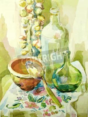 Image Main, aquarelle, cuisine, encore, vie, pot, verre, bouteille, cuillère, arc