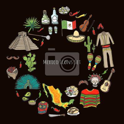 249d27d1729e Image Main, dessiné doodle Mexique, ensemble vecteur, Illustration Sketchy,  mexicain, nourriture