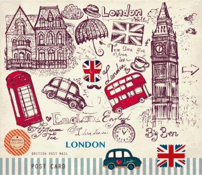 main dessiné vecteur carte avec des symboles de Londres